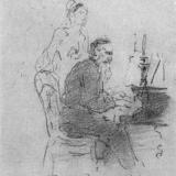 Иллюстрация к программе Музыка в доме Толстых. Рисунок Ильи Репина.